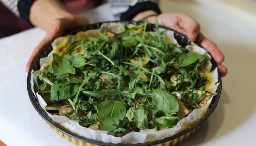 Base de Polenta con Verduras y dos salsas. De rechupete.